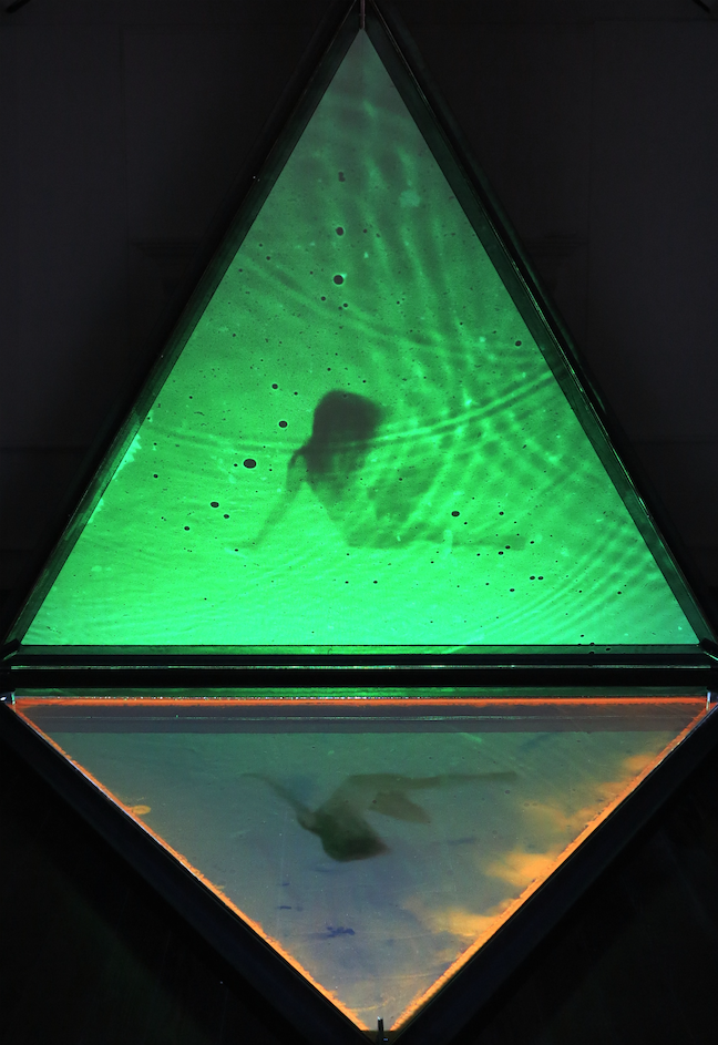 2014 Bermuda Biennial artwork: Triangle by John Gardner in collaboration with Tiffany Paynter (spoken word) and Anna Clifford (dance). Wood, steel, water, projection and sound. 10 x 10 x 10 ft.
